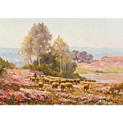 "EDOUARD PAIL (French, 1851-1951)  Original Signed Oil On Canvas ""Sheep Grazing in the Heather"""