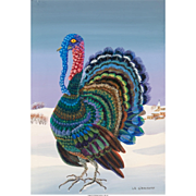 "MADELEINE LA GIRAUDIERE (French, b. 1922) - ""The Turkey"" Original Signed Oil On Canvas"