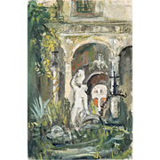 "PIERRE LAPRADE  (French, 1875-1931) - Original Signed Watercolor and Gouache - ""Courtyard With Statue"""
