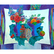 "TONY AGOSTINI (1916 - 1990) - Original Signed Oil On Canvas ""Vase Fleuri Et Coupe De Fruits"" Still Life Modernist Artwork"