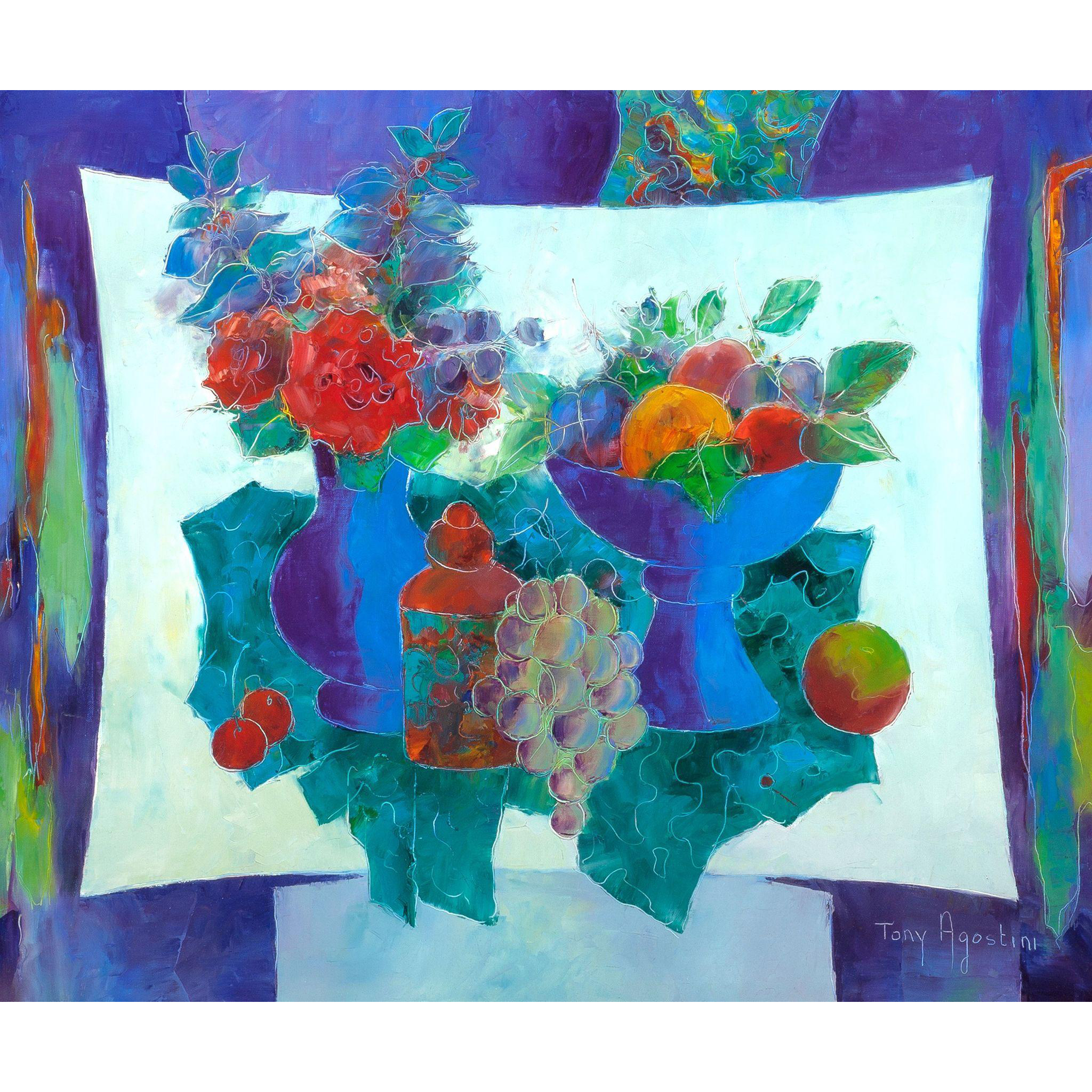 "TONY AGOSTINI (1916 - 1990) - Original Signed Oil On Canvas ""Vase Fleuri Et Coupe De Fruits"" Still Life Modernist Artwork"