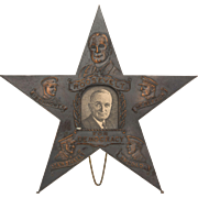 HARRY S.TRUMAN/FRANKLIN ROOSEVELT Copper Star Desk Ornament, With Generals Mac Arthur, Arnold and Eisenhower circa 1944 - 1945 On Easel Stand