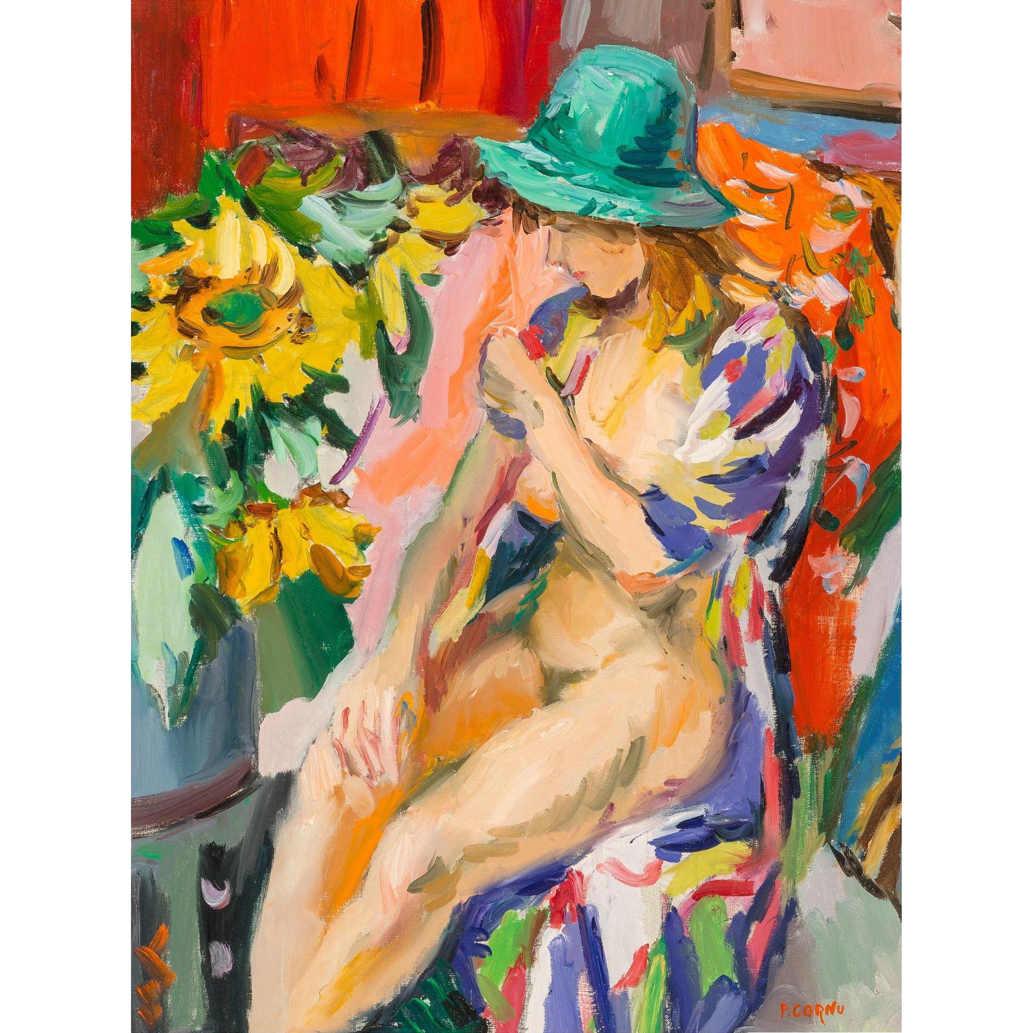 "PIERRE CORNU (French, 1895 - 1995) - Original Signed Oil On Canvas ""Nu Au Chapeau Vert"""