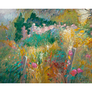 "ELISABETH STENNE (French, 20th Century)  ""View Of The Garden"" Original Signed Impressionist Pastel On Paper"