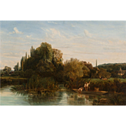 "NICOLAS LOUIS CABAT (French, 1812-1893) - Magnificent Original 19th Century Oil On Canvas ""Hameau du Bord de la Riviere"""