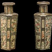 PAIR Of Huntley & Palmers Famille Verte Biscuit Tins In Vase Form, VERY RARE