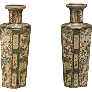 PAIR Of Huntley & Palmers Famille Verte Biscuit Tins In Vase Form, VERY RARE