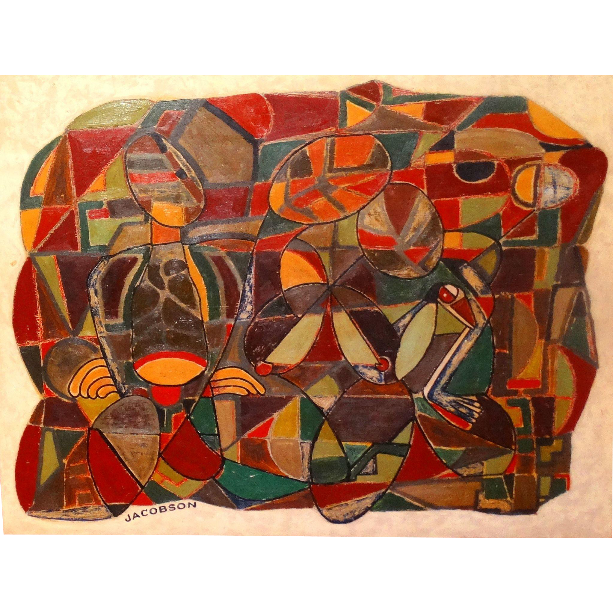 CHARLES R. JACOBSON (American 20th Century)  - Original Signed Mixed Media Abstract Painting On Wooden Panel