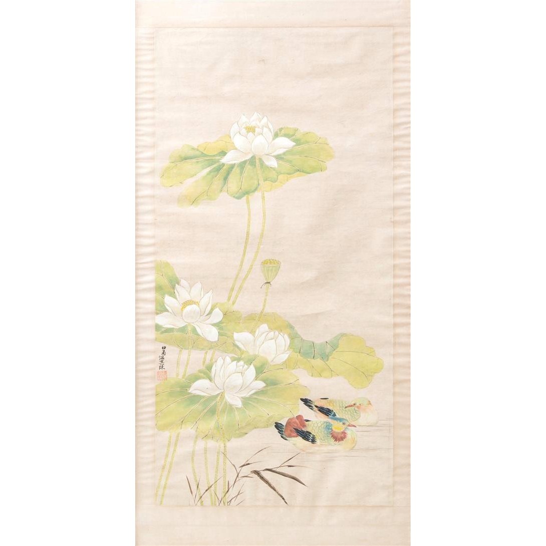 """QIQIU WEN (Chinese 1862-1941) - Original Signed Ink And Color On Paper """"Lotus and Ducks"""""""