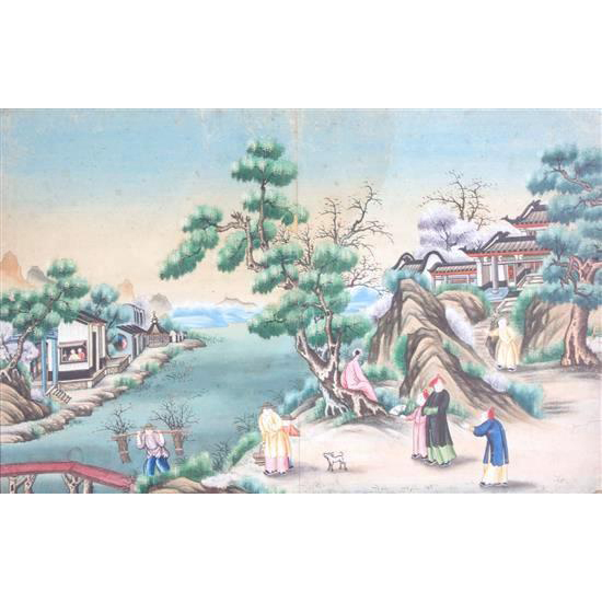 "Early 19th Century Chinese Watercolor On Paper - ""Figures In The Landscape"""