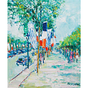 "YOLANDE ARDISSONE (French, born 1927) Original Signed Oil On Canvas ""Street Scene In France"""