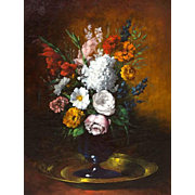 "CLÉMENT THÉODULE GERMAIN RIBOT (French, 1845 - 1893) Original Signed 19th Century Oil On Canvas ""A Bouquet Of Flowers"""