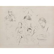 RAPHAEL SOYER (Russian/American 1899-1987) - Signed Lithograph of Figure Studies of Sleeping Woman and the Artist's Self Portrait