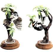 Pair of Royal Worcester Porcelain Little Downey Woodpeckers - Rare And Wonderful!