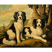 "WILLIAM SKILLING (American 1862 - 1964) Original Signed Oil On Canvas ""Two Spaniels"""