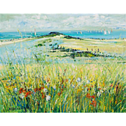 """YOLANDE ARDISSONE (French, born 1927) Original Signed Oil On Canvas """"Flowers And The Sea"""""""