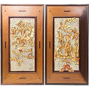 Pair of Chinese Parcel-Gilt and Lacquered Wood Reticulated Panels, Each With A Scholar And Attendants In A Landscape