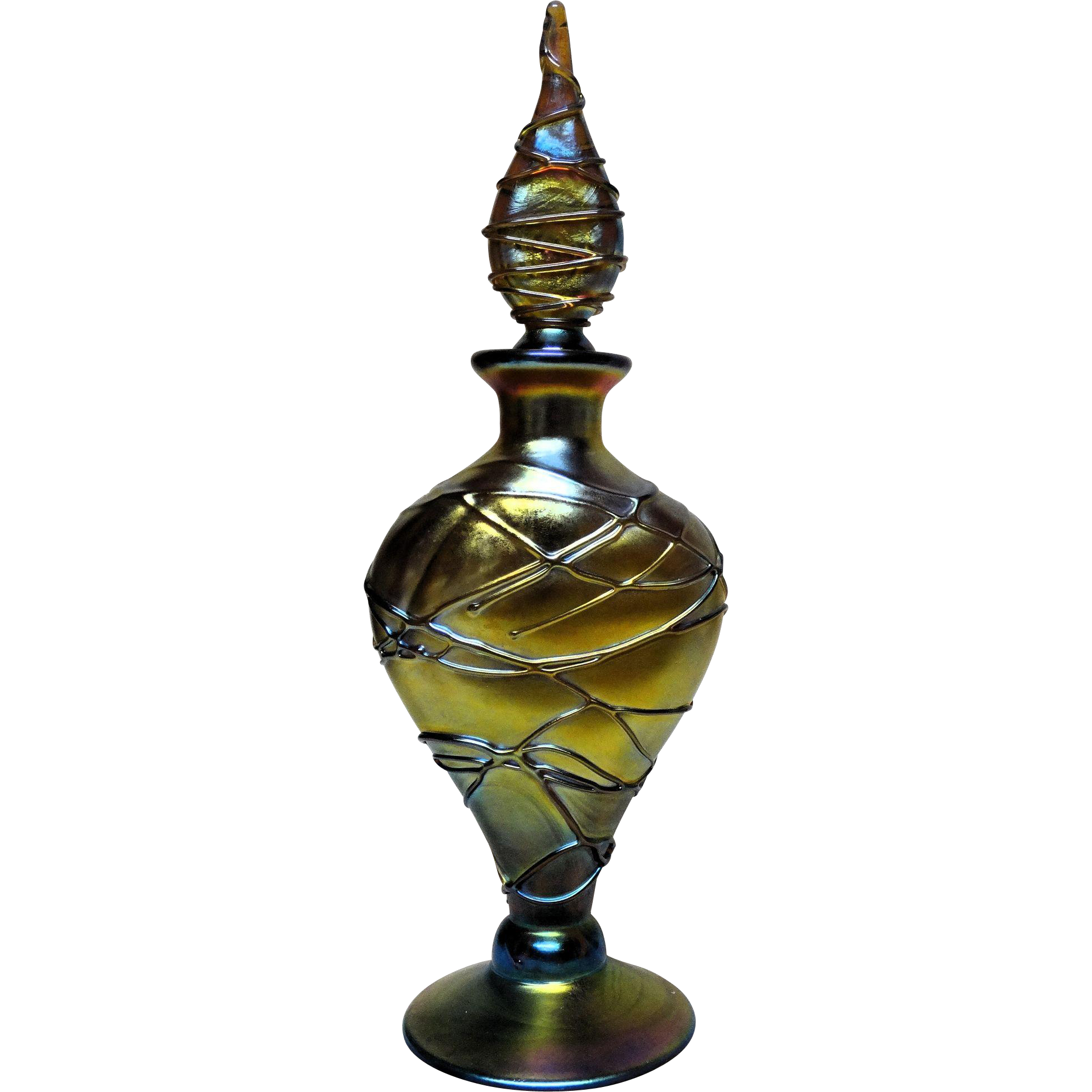 STEVEN LUNDBERG (American 1953 - 2008) Outstanding Iridescent Art Glass Perfume Bottle With Lava Lines