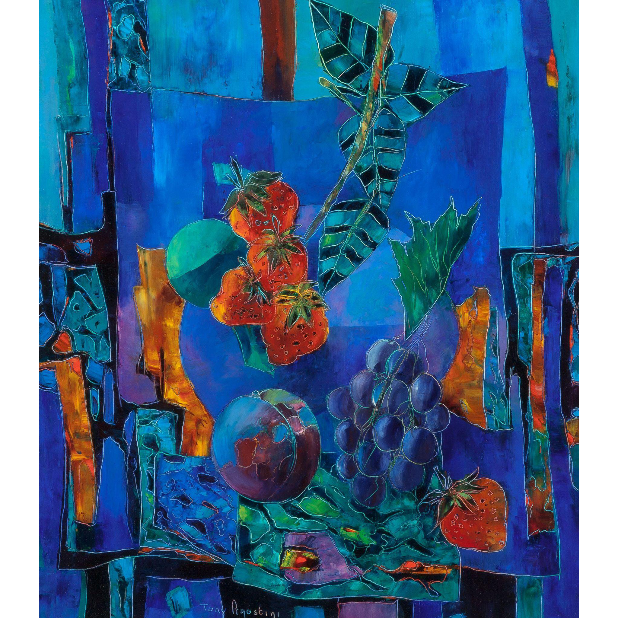 "TONY AGOSTINI  (Italian, 1916-1990) Original Signed Oil On Canvas ""Les Fraises de Honfleur"""