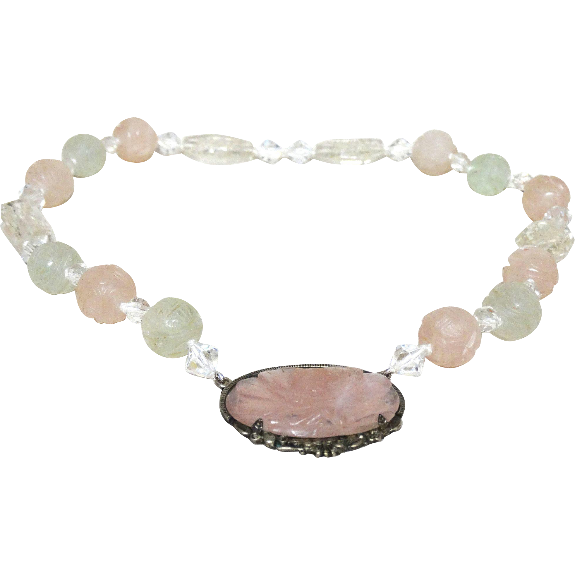 Carved Chinese Rose Quartz Necklace With Carved Rose Quartz Oval Pendant In Chinese Silver, Hallmarked