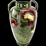 JULIUS B. DRESSLER Art Nouveau Majolica Double-Handled Pottery Vase.