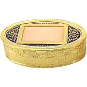 Antique French Oval Gilt Dresser or Trinket Box With Enamel And Scroll Top
