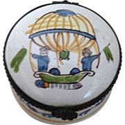 French Trinket Box or Pill Box With Hot Air Balloon,  Signed Pierre Deux