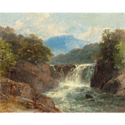 "JOHN BRANDON SMITH (British, 1848-1884) Original Signed Antique Oil Painting ""Trout Stream In North Wales""  Dated 1889"
