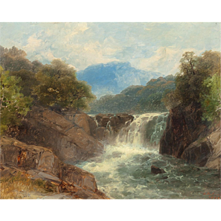 """JOHN BRANDON SMITH (British, 1848-1884) Original Signed Antique Oil Painting """"Trout Stream In North Wales""""  Dated 1889"""