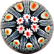 Lovely Art Glass Millefiori Paperweight