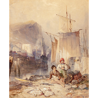 "SAMUEL AUSTIN (British, 1796-1834) Original Signed Antique Watercolor ""Honfleur"""