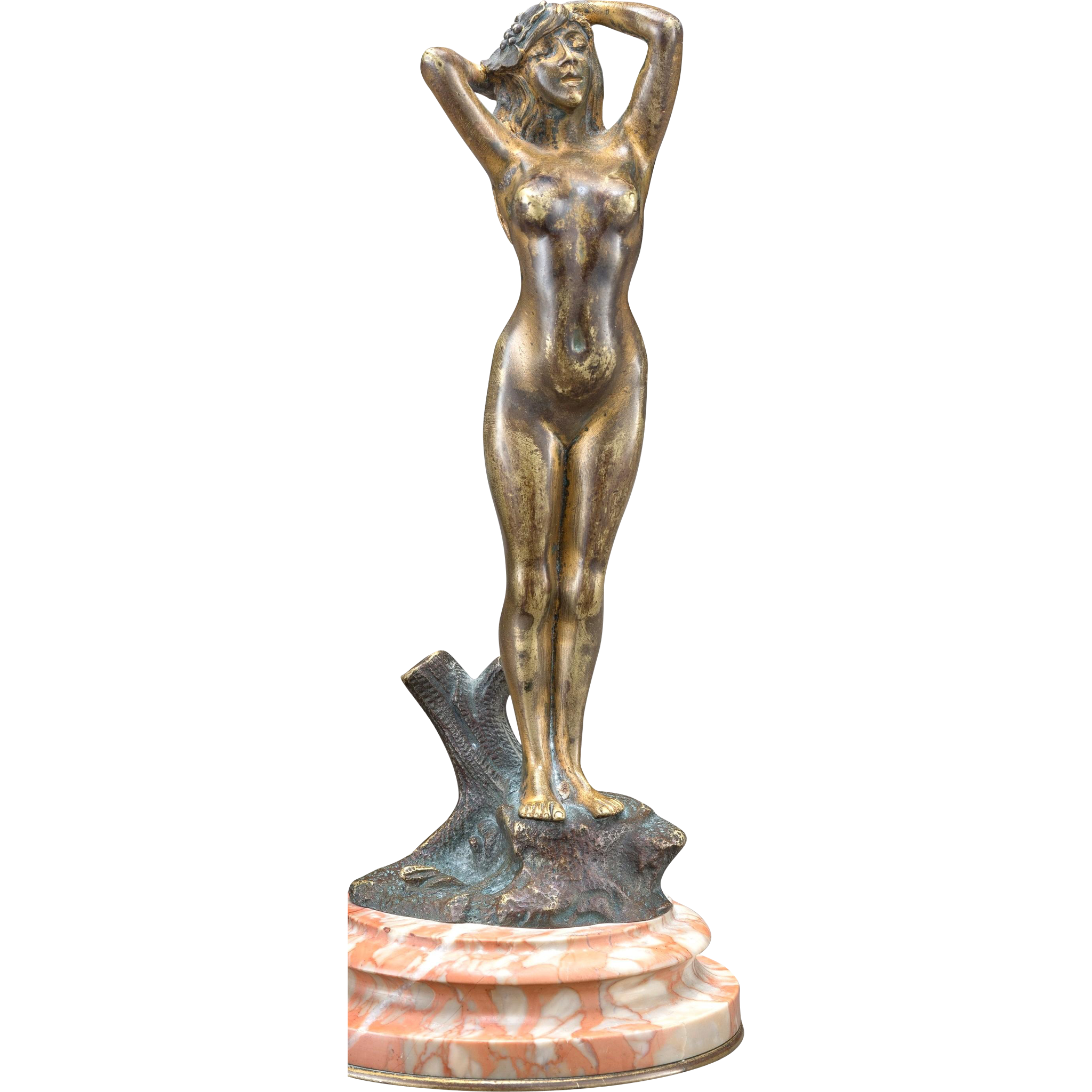 ART NOUVEAU Signed Bronze Female Nude On Marble Base