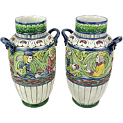 PAIR of Antique Teplitz Amphora Polychrome Art Nouveau Pottery Vases, With King and Queen on Both Sides In High Relief, Scrolled Leaves Motif