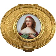 Antique French Gilt Dresser Box or Trinket Box With Porcelain Portrait Miniature, With lovely Borders and Beautiful Pattern Surrounding the Miniature.