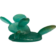 DAUM Signed Green Pate-de-Verre Cactus, From France