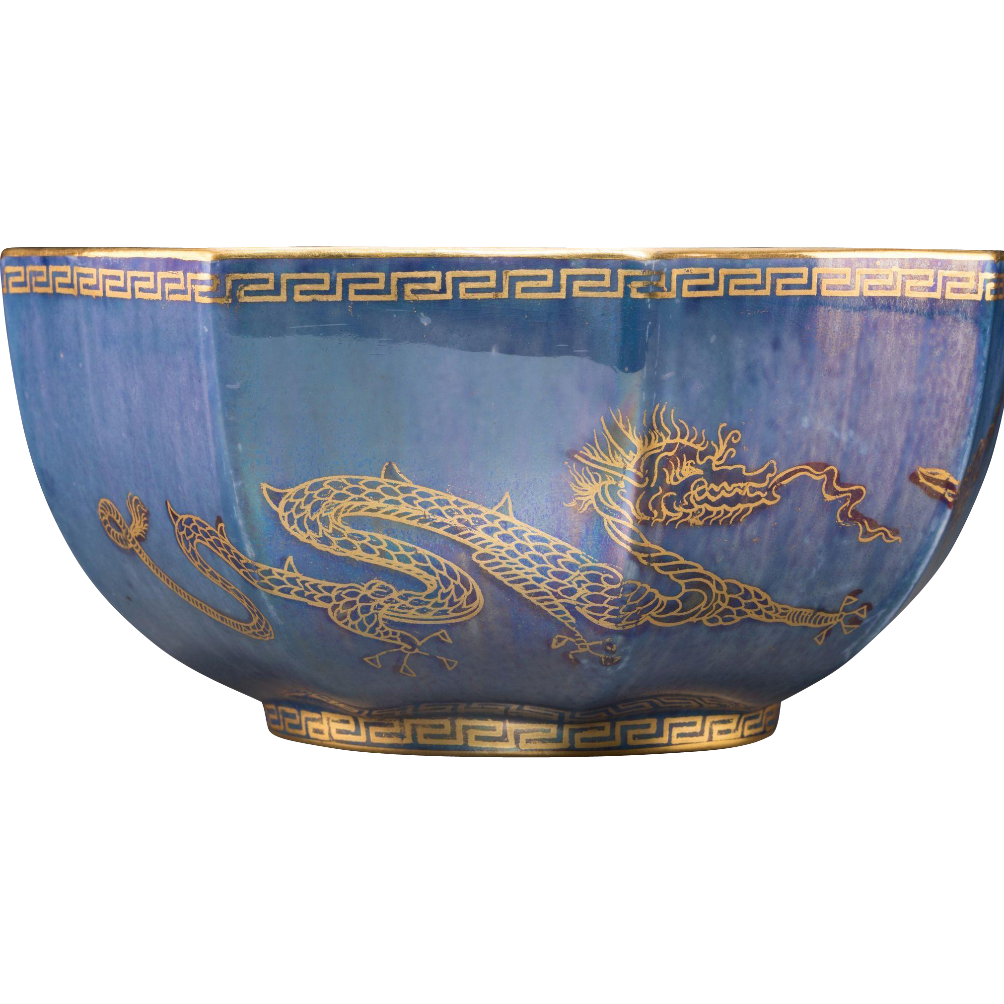WEDGWOOD Dragon Lustre Porcelain Octagonal Bowl, From A Museum's Collection