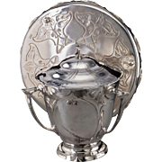 KAYSERZINN Pewter Tureen With Three Handles, With Associated Silver-Plated Tray