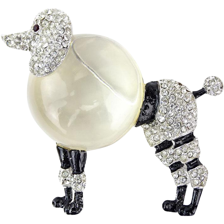 French Poodle Brooch (Pin) With Enamel, Rhinestones, and Acrylic -  Adorable Costume Jewelry