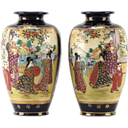 PAIR  of AntiqueSigned  Japanese Satsuma (Gosu) Cobalt Blue Hand-Painted Vases, Meiji period.