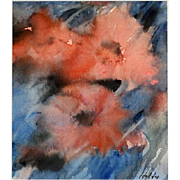 "CARL HOLTY (German/American  1900 - 1973) Signed Original Watercolor ""Poppies"" Expressionist Abstract"