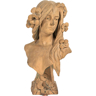 "Georges Charles Coudray (French, 1863 - 1932) Sculpture Created by the Artist for the 1900 World's Fair held in Paris, France - ""Young Woman With Flowers"""