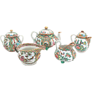 19th Century Rose Medallion Porcelain Tea Service - Five Pieces