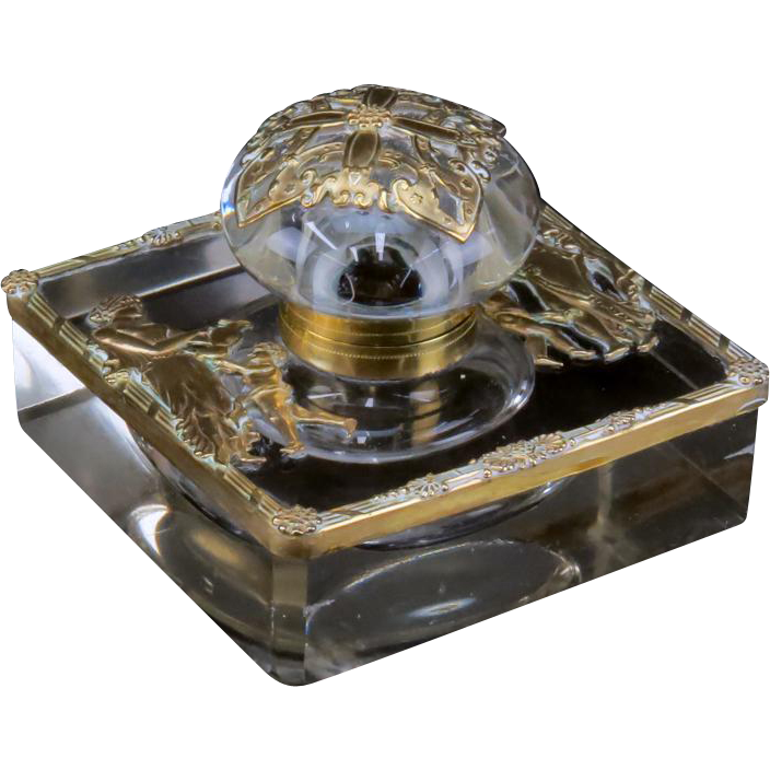 Antique French Empire Ormolu Bronze And Crystal Inkwell