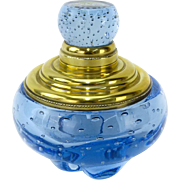 Vintage Art Glass Cobalt Blue Inkwell/Paperweight With Gilt Brass Top and Controlled Bubbles, Absolutely Exquisite!
