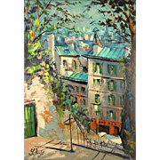 "FRENCH SCHOOL Original Signed Oil On Canvas ""Parisian Cafe"""