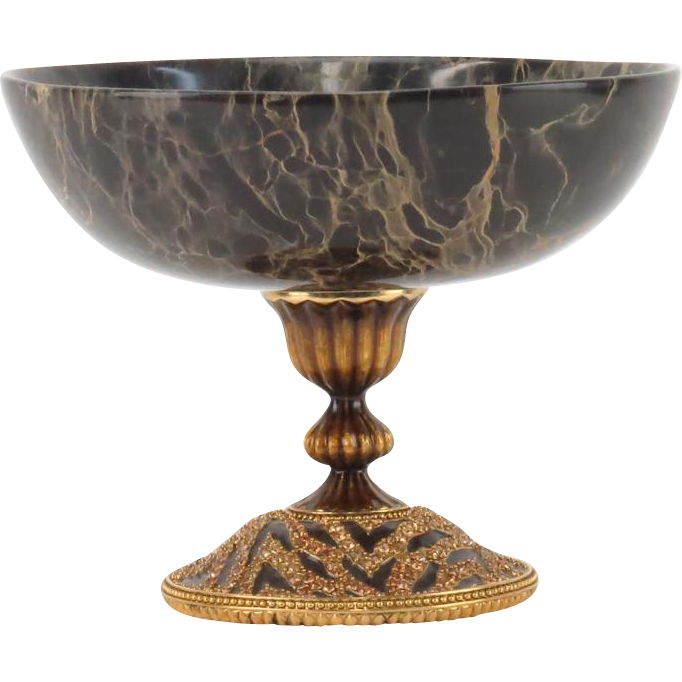 Vintage Jay Strongwater Signed Marble And Gilt Metal Tazza With Faux Gemstone Accents, Closed Edition