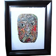 "ALEXANDER GORE (Russian/American 20th Century) ""The Red On A Face Will Go Far""  Original Abstract SELF-PORTRAIT  Impasto Oil Painting Signed, With Artist's COA -"
