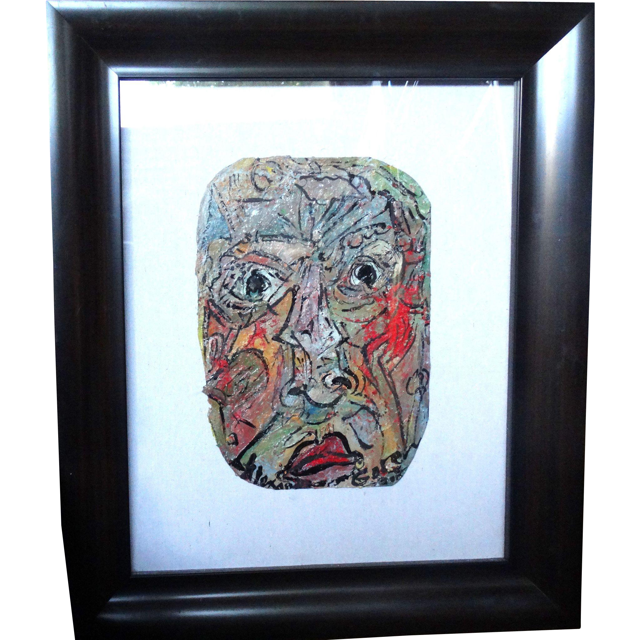 """ALEXANDER GORE (Russian/American 20th Century) """"The Red On A Face Will Go Far""""  Original Abstract SELF-PORTRAIT  Impasto Oil Painting Signed, With Artist's COA -"""