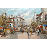 "LOUIS BASSET (French, b. 1948 ) -VERY LARGE Signed Original Oil On Canvas - ""Paris"" -"