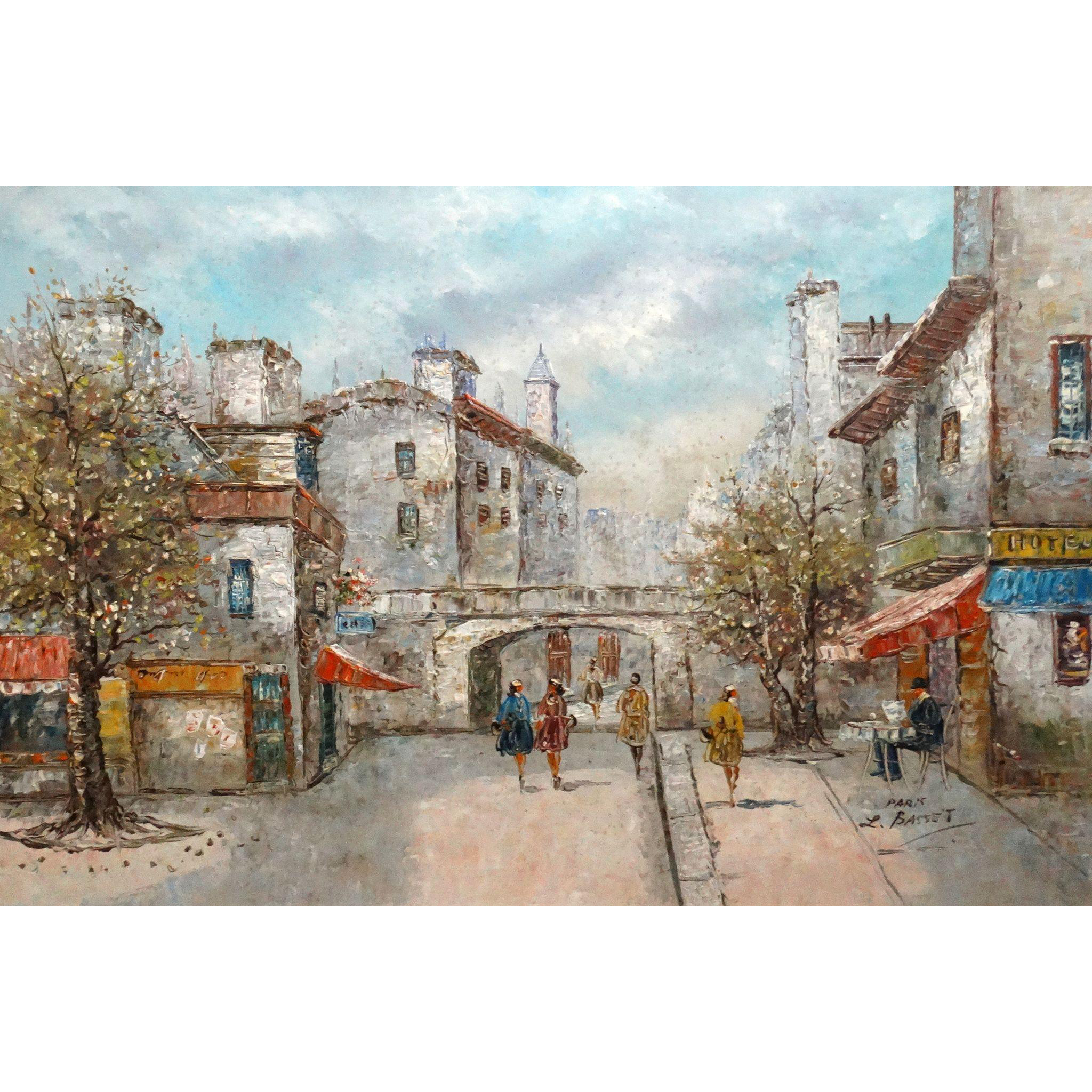 """LOUIS BASSET (French, b. 1948 ) -VERY LARGE Signed Original Oil On Canvas - """"Paris"""" -"""